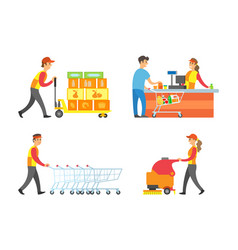 supermarket working people and client set vector image