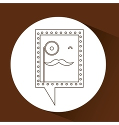 Symbol hipster monocle and mustache icon vector