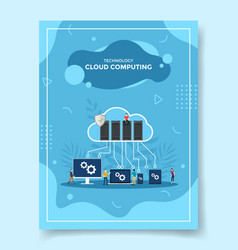 technology cloud computing people around server vector image