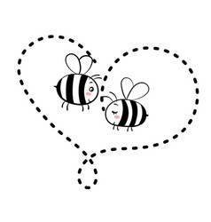 two bees in love isolated vector image