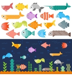 Underwater fishes set vector image