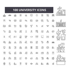university editable line icons 100 set vector image