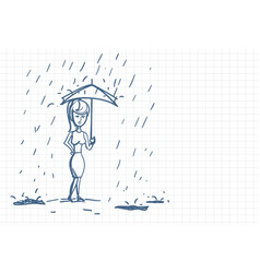 Upset business woman wet under rain with umbrella vector