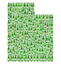 Utah state map mosaic of wine bottles and circles vector