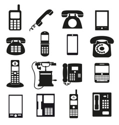 various black phone symbols and icons set eps10 vector image