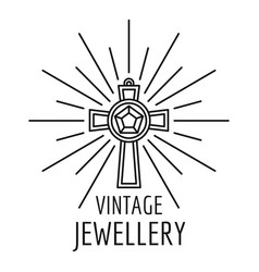 Vintage jewellery logo outline style vector