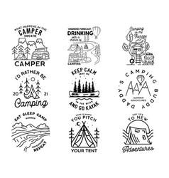 vintage line art logo designs set camping vector image