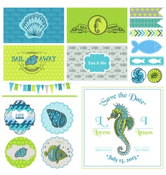 Vintage Seahorse Party Set - for Party vector image