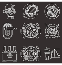 White line icons for picnic vector image