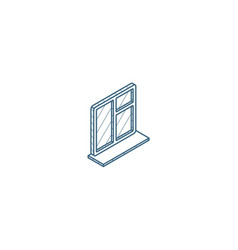 window whith sill isometric icon 3d line art vector image