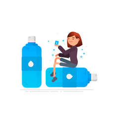 woman drinks water protection against germs vector image