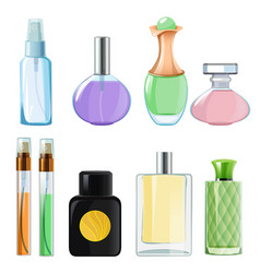 woman perfumes glass bottles of perfume on white vector image