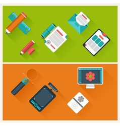 Workplace with office supplies digital devices vector