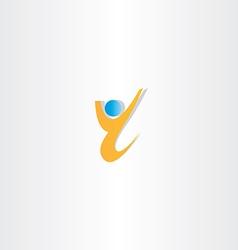 Yellow man letter y winner icon vector