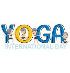 Yoga international day banner with old woman vector