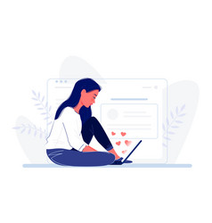 young woman sitting on floor with laptop near vector image