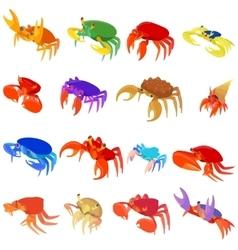 Crab icons set cartoon style vector image