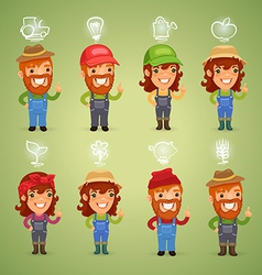 farmers with simbols set vector image vector image