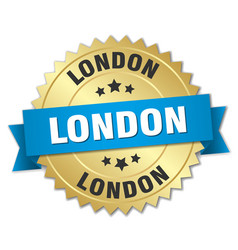 London round golden badge with blue ribbon vector