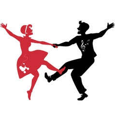 Rockabilly couple dancing silhouette vector