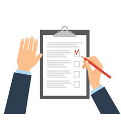 the person fills in the checklist with a pencil vector image