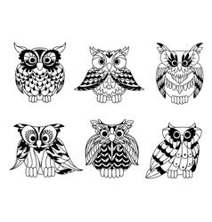 Cartoon outline owl birds set vector image vector image