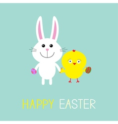Cute bunny rabbit and chicken holding eggs Happy vector image vector image
