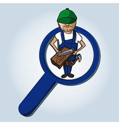 Service search wood worker boy cartoon vector image