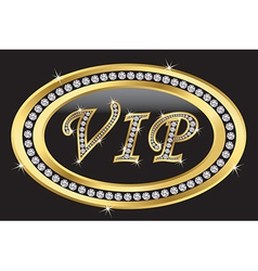 Vip golden label with diamonds vector image