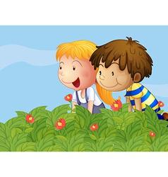 A boy and a girl in the garden vector image vector image
