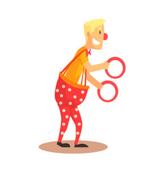 funny friendly clown juggling with rings circus vector image