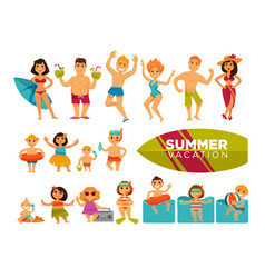 Summer vacation set of cartoon characters in vector
