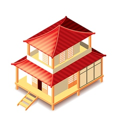 Tradition japan house isolated on white vector image vector image