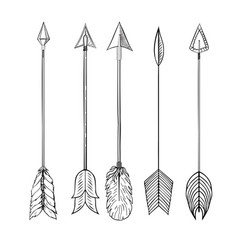 tribal indian arrow set vector image