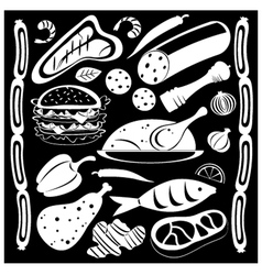black and white food pattern vector image