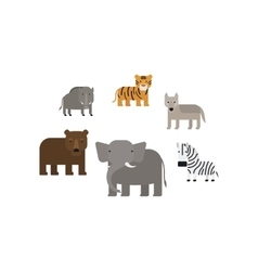 Different african animals flat icons set vector image