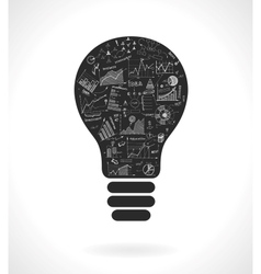 Doodle idea lightbulb icon with infographics vector image