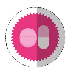 emblem capsule and tablet icon image vector image