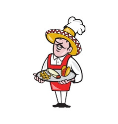 Mexican Chef Cook Plate Tacos Burrito Corn Chips vector image