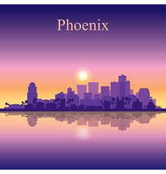 Phoenix city skyline silhouette background vector image vector image