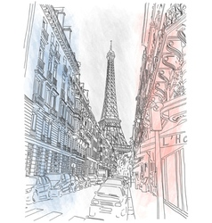 Street of the paris and the eiffel tower vector