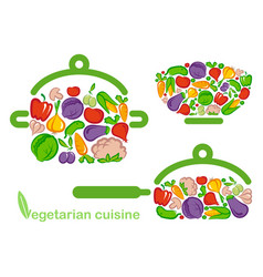 symbols of preparation vegetarian food vector image