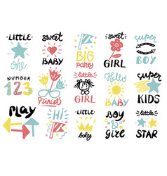 15 children s logo with handwriting quotes vector