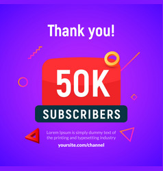 50000 followers post 50k celebration fifty vector image