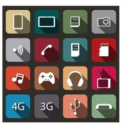 A set of mobile icons vector image