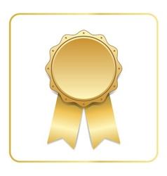 Award ribbon gold icon white vector