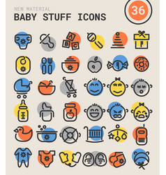 Baby stuff bold linear icons vector