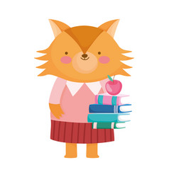 Back to school education cute fox with books and vector