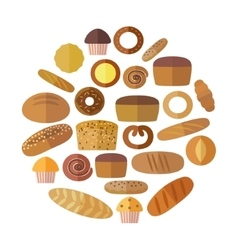 Bakery and pastry products icons set with various vector
