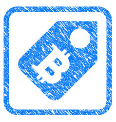 bitcoin price tag framed stamp vector image